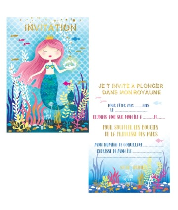 Cartes invitations sirène