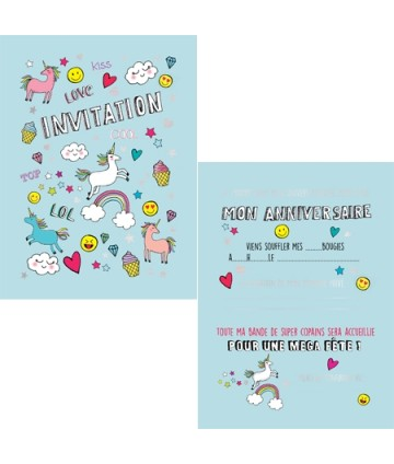 Cartes invitations licornes