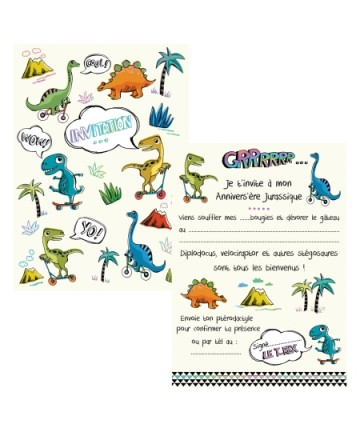 Cartes invitations dinosaures