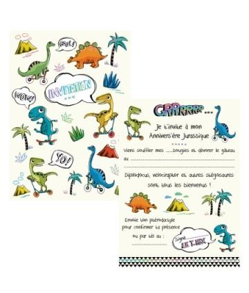 Invitations dinosaures (x 8)