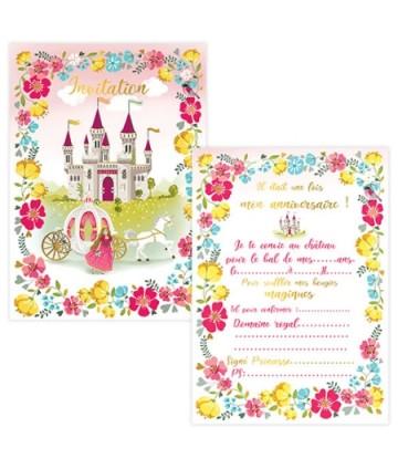 Invitations princesse (x 8)