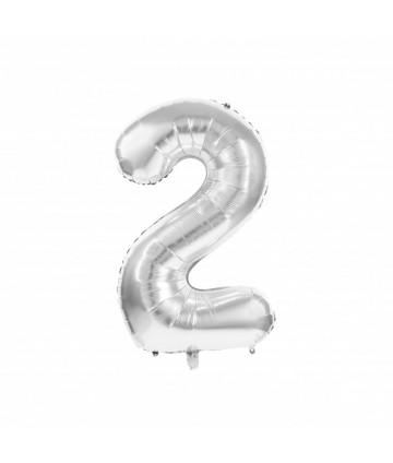 Ballon Mylar chiffre 2 argent