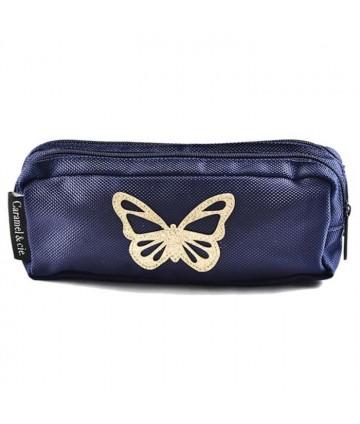 Trousse double papillon bleu