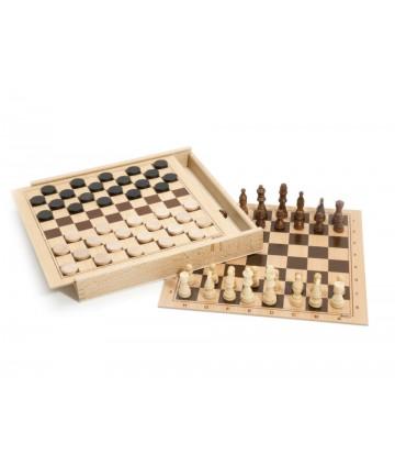 Coffret jeu de dame et échecs
